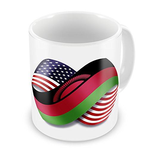Coffee Mug Infinity Flags USA and Malawi - NEONBLOND