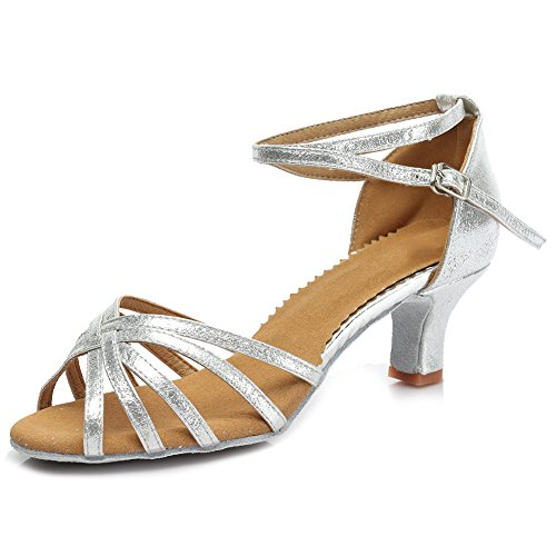 HROYL Women MF5-18106 Leather Latin/Modern/Chacha/Samba Dance Shoes Ballroom 5CM Silver 1wEHJ3