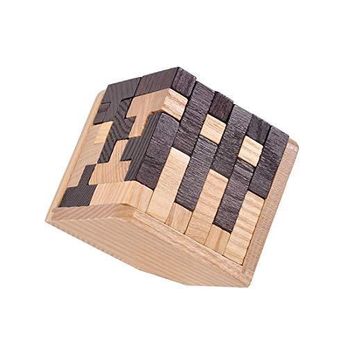 KINGOU Wooden Tetris Puzzle Cube 3D Brain Teaser Puzzles 54