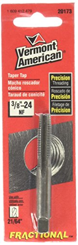 24 Nf Cut Thread - Vermont American 20173 High Carbon Steel NF Fractional Taper Tap - 3/8-inch by 24