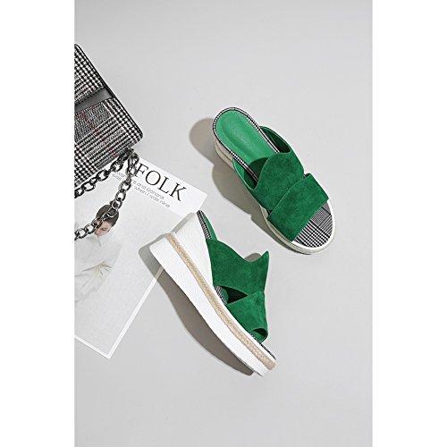 Estivi zeppa Piattaforma a Sandali Superiore Tacco L0615 creativo Personalità Spessa Suola Donna KJJDE Donna WSXY green FUqHz