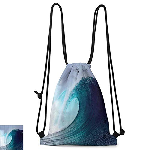 (Outdoor sports backpack Ocean Decor Collection Tropical Surfing Wave on a Windy Sea Indonesia Sumatra Picture Print W14
