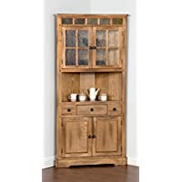Sedona Collection 2451RO 76 Corner China Cabinet with Natural Slate Accents and Waterfall Glass and Round Knob Hardware in Rustic Oak Finish