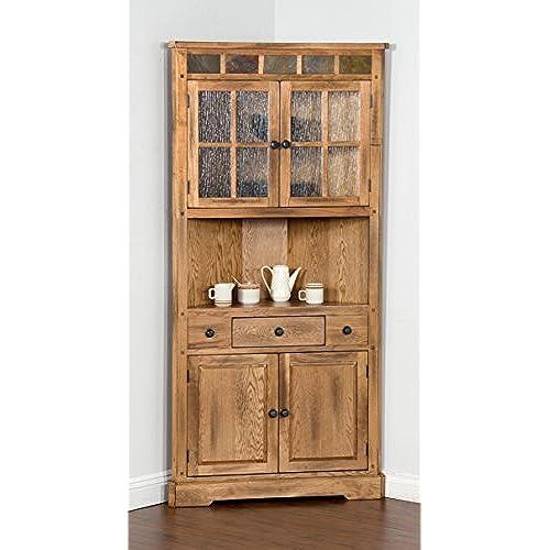 Sunny Designs Sedona Corner China Cabinet In Rustic Oak