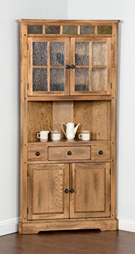 Sedona Collection 2451RO 76 Corner China Cabinet with Natural Slate Accents and Waterfall Glass and Round Knob Hardware in Rustic Oak Finish by Sunny Designs