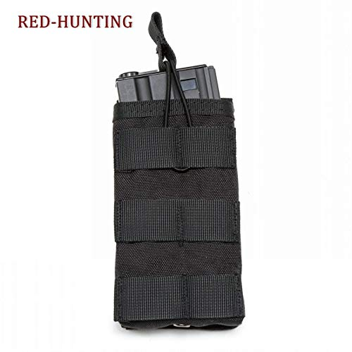 M16 Single (Best Quality - Pouches - Durable Single Mag Magazine Pouch Open Top Bag for M4/M16 5.56.223 Military Slingshot Hunting Bag Molle Nylon Waist Pack - by DINAX - 1 PCs)