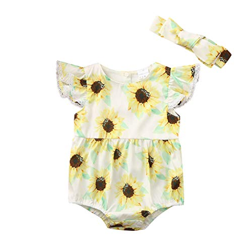 (Iuhan Summer Infant Girls Playsuit Onesies Baby Girls Sleeveless Sunflower Print Romper Bodysuit Clothes Jumpsuit)