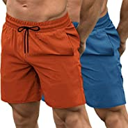 COOFANDY Men's 2 Pack Gym Workout Shorts Quick Dry Bodybuilding Weightlifting Pants Training Running Jogge