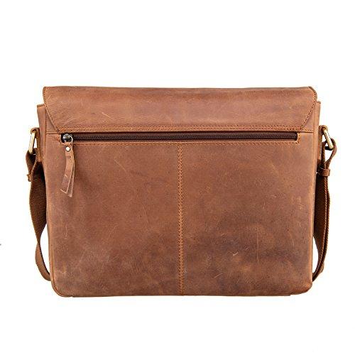 Woodpecker Cowhide Leather 13 inch Laptop Messenger Bag - Mens Crossbody Shoulder Office Bag - Briefcase Macbook Satchel Bag