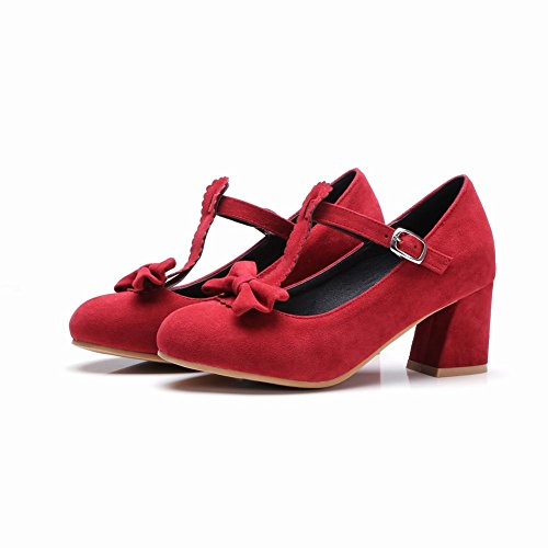 Carolbar Heel Bows T Retro Womens Mid Red Shoes Mary Buckle Strap Janes OrOw10qU