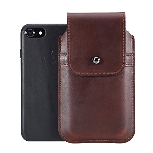 Limited Edition: Blacksmith-Labs Barrett Mezzano 2017 Premium Leather Swivel Belt Clip Holster for Apple iPhone 6/6s/7 for use with Apple Leather Case - Horween Chromexcel Havana Brown/Gunmetal Clip by Blacksmith-Labs (Image #2)