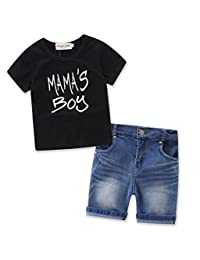 BANGELY Summer 2Pcs Set Kids Boys Mama's Boys Letter Print T-Shirt Top+Denim Shorts