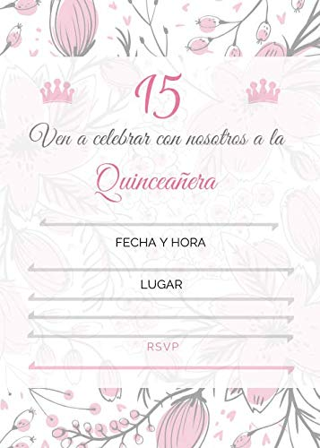 Invitations In The Blank Fill - 25 Quincenera Party Invitations with envelopes | Blank Fill-in Invites | 5 x 7 | 15th Birthday Party Favor | Sweet 15 | En Espanol | in Spanish