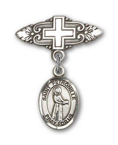 Icecarats Créatrice De Bijoux En Argent Sterling St. Petronille Broche De Badge Charme Avec Une Croix X 3/4