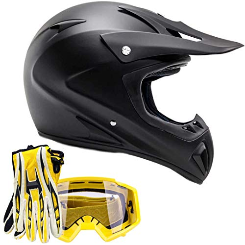 Typhoon ATV MX Helmet Goggles Gloves Gear Combo Matte Black Yellow ()