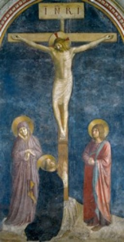 (Posterazzi The Crucifixion with Saint Dominic Poster Print by Fra Angelico Fresco 15th Century (Circa 1400-1455) France Paris Musee du Louvre, (18 x 24))