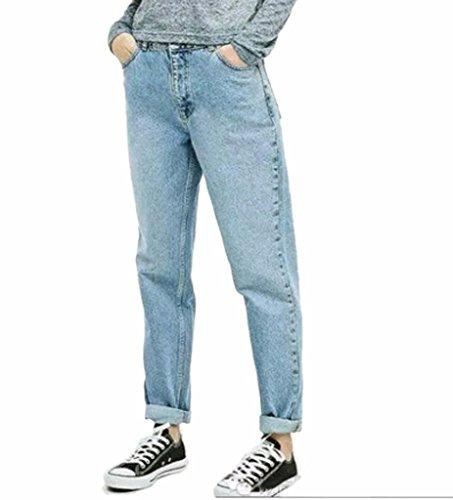 Klorim Women's High Waist Cuffed Jeans Denim Pants