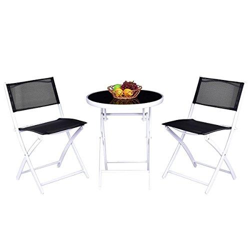 Custpromo 3 Pcs Bistro Set Folding Table and Chair Set Metal Frame Tempered Glass Top Garden Backyard Furniture (Black) by Custpromo