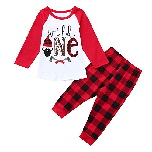 residentD Toddler Baby Cotton Letter Print Tops+Plaid Pants Outfits Clothes (3-4 Years, Red) ()
