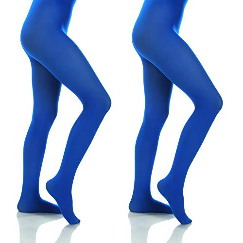 Silky Toes Women's Opaque Microfiber Comfort Tights- 2 Per Pack (Large (D), Royal -