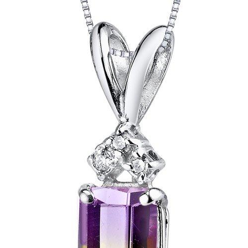 Or blanc 14carats émeraude 1,00carats Amétrine Diamant Pendentif