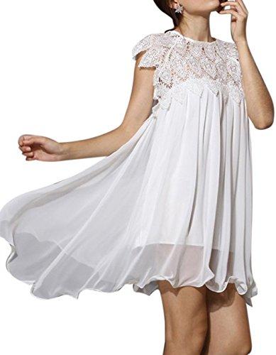 ZEARO Damen Sommer Spring Ärmellos Weiß Kleid Minikleid Abend Partei ...