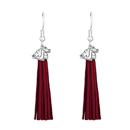 Washington State Cougars Red Leather Tassel Silver Charm Earring Jewelry Gift WSU (Leather College Cougars)