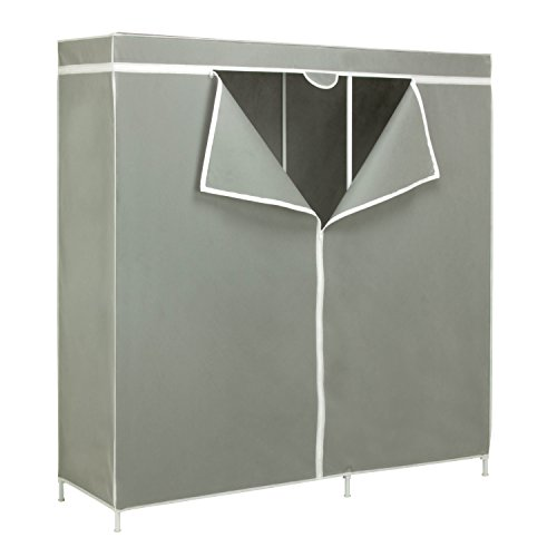 Honey-Can-Do WRD-03746 Steel Frame Wardrobe Closet with 60-Inch Hanging Space, 60 by 17.75 by 63.37-Inch, Silver