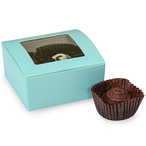 Standard Truffle Box (Aqua Blue 4-Piece Truffle Boxes With Window - 2-5/8 x 2-3/4 x 1-1/4in. (25))