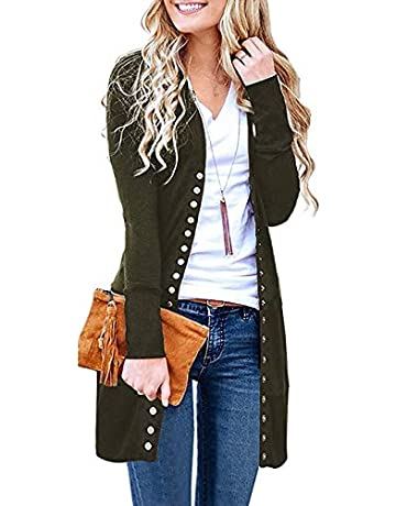 bbf085154158c Chuhee Women s S-3XL Long Sleeve Knitwear Casual Snap Cardigans