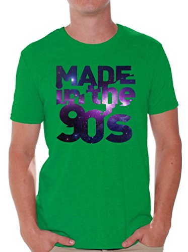Awkward Styles Men's Made In The 90's T shirt Tops Galaxy Gift for Birthday Funny Saying Green L (90s Themed Clothes)