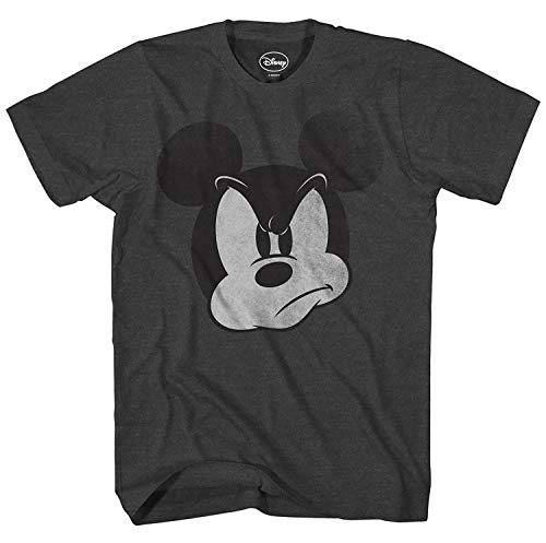 Mad Mickey Mouse Graphic Tee Classic Vintage Disneyland World Mens Adult T-Shirt Apparel (Large, Premium Charcoal Heather) - Mens Vintage T-shirt Charcoal