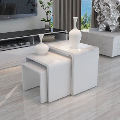 Beau New White High Gloss Nest Of 3 Coffee Table Side End Table Modern Design  Living Room