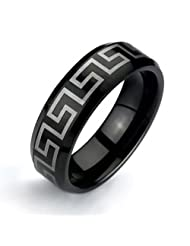 Bling Jewelry Gift Black Greek Key Design Tungsten Ring 8mm