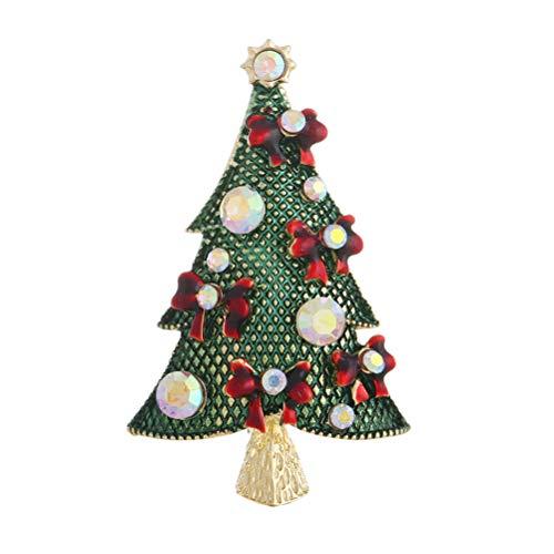 FENICAL Broches Árbol de Navidad Broche Broche de diamantes de imitación de cristal Broche de regalo de Navidad (Verde)