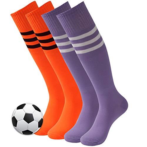 Rugby Socks, 3street Unisex Over Knee Winter Sport Soccer Football Basketball Compression Tube Socks,School Team Game Running Halloween Socks Orange Medium Purple 4 Pairs (Best High School Basketball Uniforms)