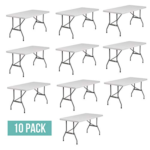 EventStable TitanPRO Plastic Folding Table - 6' x 30'' - 10 Pack