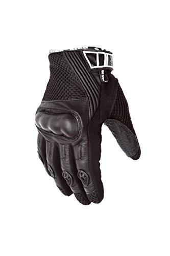 Rush Motorcycle Gloves - Protect the King Scout Mesh Leather Premium Motorcycle Gloves (Medium, Black/Black)