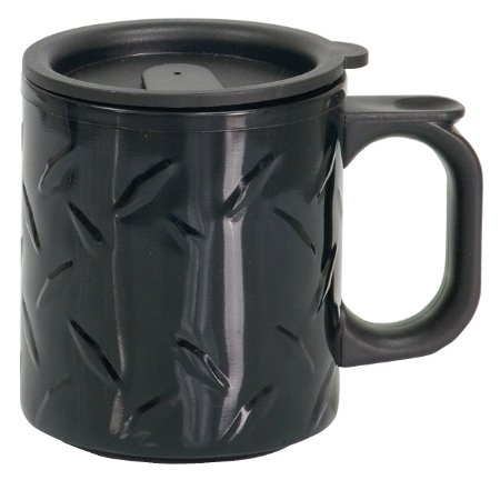 Rock Ridge Stainless Steel Travel Mug with Handle - 12oz - Diamond Plate Finish (Black) Diamond Plate Handle
