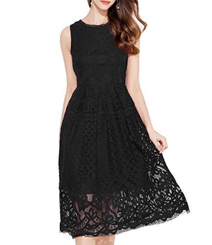 VEIISAR Womens Fashion Sleeveless Lace Fit Flare Elegant Cocktail Party Dress (Small, L0201 Black) from VEIISAR
