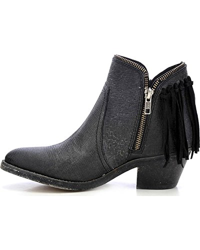 Brown Corral up Back Cowboy Women's Fringe Zip Shortie Black Urban Leather Boots ywppYRqB