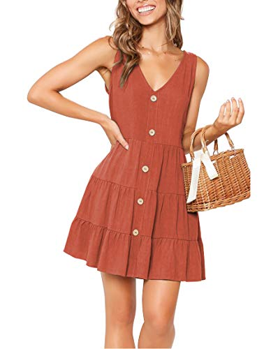 YIBOCK Women's Summer Sleeveless V Neck Button Pleated Swing Mini Sundress Tank Dress Rust