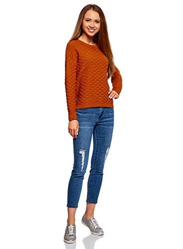 Maglione Donna Ultra Con Largo Arancione Oodji 5900n Geometrici Motivi Hq46w