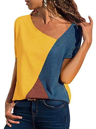 Yidarton Women's Summer Tee Shirts Short Sleeve Shirts Patchwork V-Neck Casual Tunic Tops Blouse Basic Color Block T Shirt(Yellow, X-Large)