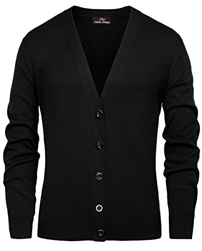 PJ PAUL JONES Men's Long Sleeve V Neck Button Closure Ribbed Edge Cardigan Sweater(M,Black) ()
