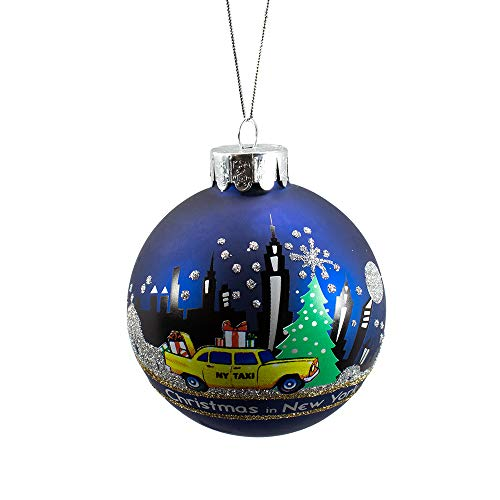 Kurt Adler New York Glass Ball Ornament, 80mm (Best Shopping In New York For Tourists)