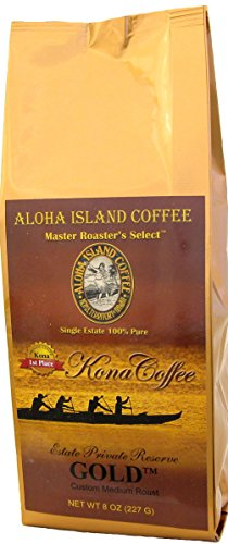100% Pure Kona Coffee, Aloha Island Brand GOLD Medium Roast, Smooth, Low Acid Pure Kona in a Full-Bodied, Well-Rounded Roast Profile, 8 Oz Whole - Stores Kona In