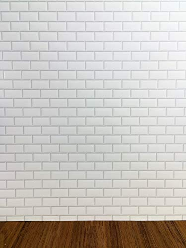 Streets Ahead Dollhouse Miniature White Subway Metro Wall Tile Textured Gloss Paper 1:12 Scale