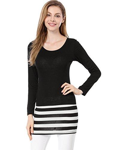Allegra K Women Scoop Neck Pullover Textured Stripes Slim Fit Mini Dress L Black