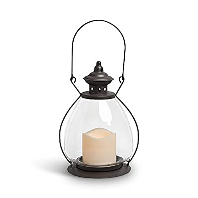 """Gerson Everlasting Glow 42465 Battery Operated Metal and Glass School House Lantern with 3 by 3"""" LED Resin Candle, 9.25"""", Rustic Brown"""